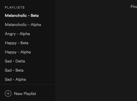 Using moods to label my playlists in Spotify.